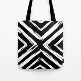 Minimalistic Black and White Paint Brush Triangle Diamond Pattern Tote Bag