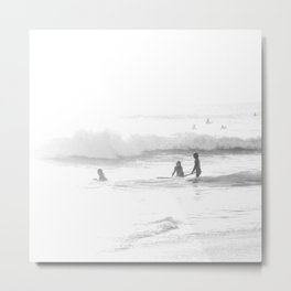 Surfing Three Girls Surfing Seashore Metal Print