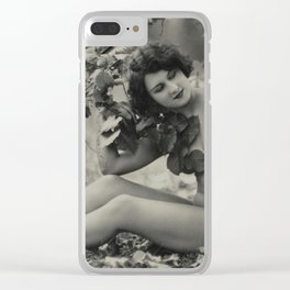 Victorian Vintage Posing Lady Erotic French Nude Postcard Clear iPhone Case