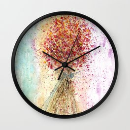 Flower Bouquet Watercolor Illustration Wall Clock