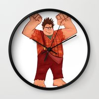 wreck it ralph Wall Clocks featuring I'm Gonna Wreck It! by shaunaoconnor