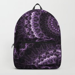 Detailed mandala in gray and violet tones Backpack
