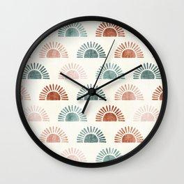block print suns - terra cotta and jade Wall Clock