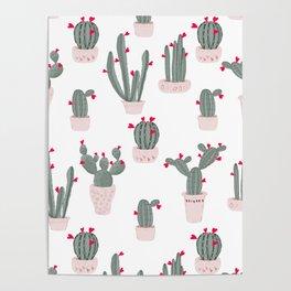 Love in the Desert Cacti Pattern Poster