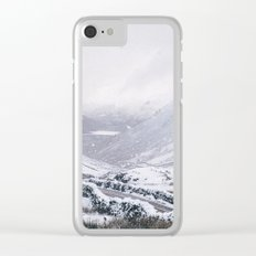 Heavy snow falling over the Kirkstone Pass. Cumbria, UK. Clear iPhone Case