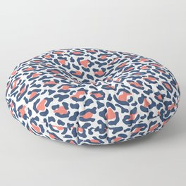 Abstract Leopard Print in Coral and Navy Blue Floor Pillow