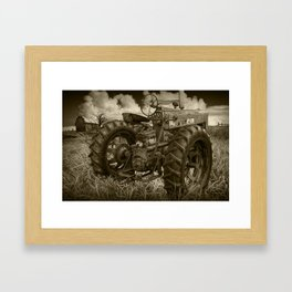 Abandoned Old Farmall Tractor in Sepia Tone Framed Art Print