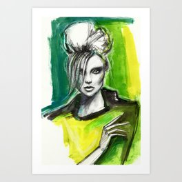 Watercolour fashion portrait Art Print