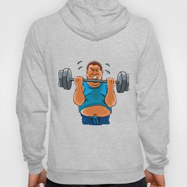 fat overweight man with dumbbell Hoody