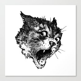 Freaky Cat B&W / Late 19th century illustration of very surprised cat Canvas Print