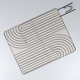 Minimal Line Curvature - Black and White I Picnic Blanket