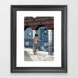 A meeting on a sunny day in a foreign land Framed Art Print