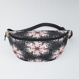 pink graphite black and white floral geometric spring pattern Fanny Pack