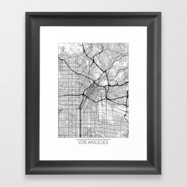 Los Angeles Map White Framed Art Print