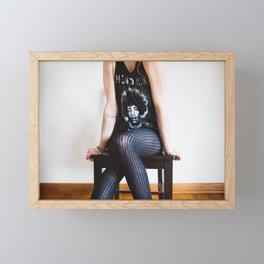 Woman In Jimi Hendrix Shirt Framed Mini Art Print