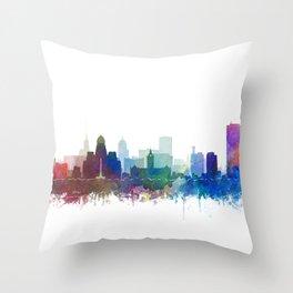 Buffalo Skyline Watercolor by Zouzounio Art Throw Pillow
