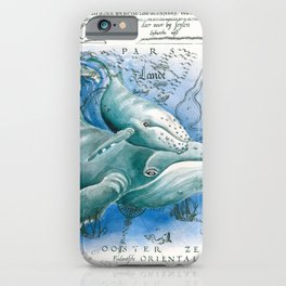 Humpback Whales Vintage Map iPhone Case