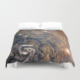 Swirling Clouds of Planet Jupiter Close Up from Juno Cam Duvet Cover