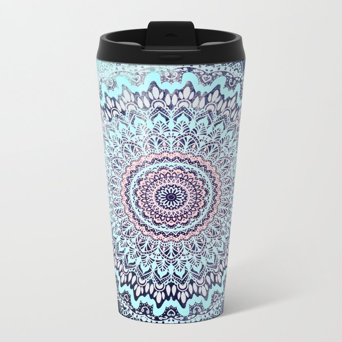 BLUE AUTUMN BOHO MANDALA Metal Travel Mug