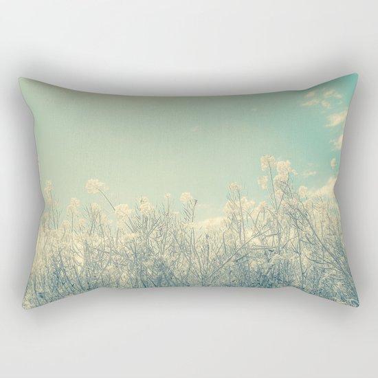 Cotton Candy Wildflowers, Baby Blue Sky Rectangular Pillow