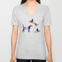 Beagle And Butterflies Unisex V-Neck