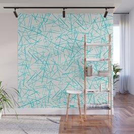 Ink Drawing Pattern, Teal Scribbles Wall Mural