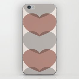 Hearts - Cocoa & Gray iPhone Skin