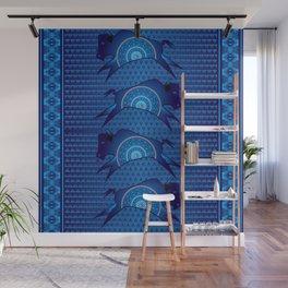 Buffalo Running (Blue) Wall Mural