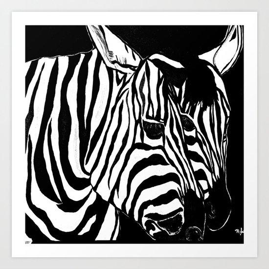 Zebra Black and White #2 Art Print