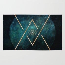 Eye Moon Gold Geometric Tribal Bohemian Mandala Rug