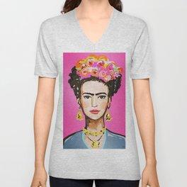 Pink Glow Frida Unisex V-Neck