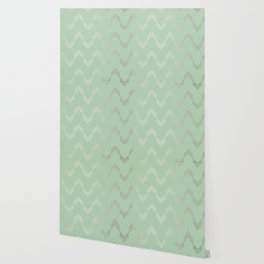 Simply Deconstructed Chevron in White Gold Sands and Pastel Cactus Green Wallpaper