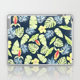 Tropical Leaves with Bromeliad and Hibiscus on Navy Laptop & iPad Skin