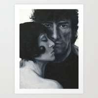 neil gaiman Art Prints featuring Portrait of Neil Gaiman and Amanda Palmer by Laura Baran