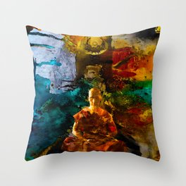 Monk Trip Throw Pillow