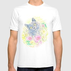 Dreamy Chartreux Cat Mens Fitted Tee White MEDIUM