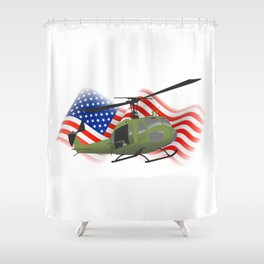 UH-1 Huey Helicopter with American Flag Shower Curtain