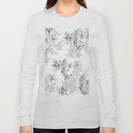PEACOCK LILY TREE AND LEAF TOILE GRAY AND WHITE PATTERN Long Sleeve T-shirt