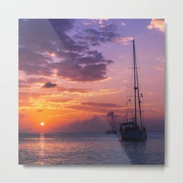 Sailboats at sunset in Roatan Metal Print