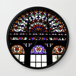 Colorful Rainbow Stain Glass Persian Window Art Wall Clock