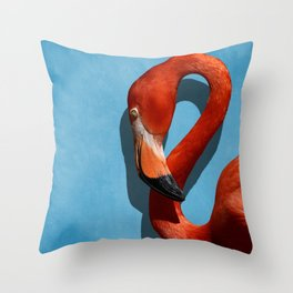 American Flamingo Profile Close-up Throw Pillow