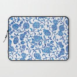 Blue Flowers on White by Fanitsa Petrou Laptop Sleeve