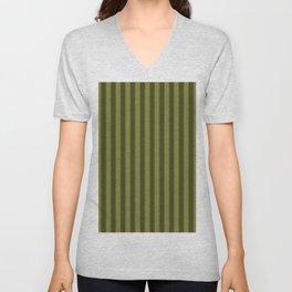 Olive Green Stripes Pattern Unisex V-Neck