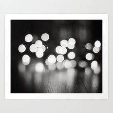 Black and White Sparkle Lights Photography, Neutral Bokeh Sparkly Photograph Art Print