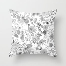 Abstract black white rustic modern floral illustration Throw Pillow