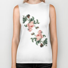 Butterflies in the Rose Garden on White Biker Tank