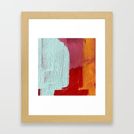 Desert Daydreams [2]: a vibrant, colorful abstract acrylic piece in pink, red, orange, and blue Framed Art Print