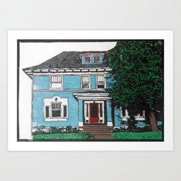 Blue house reduction linocut Art Print