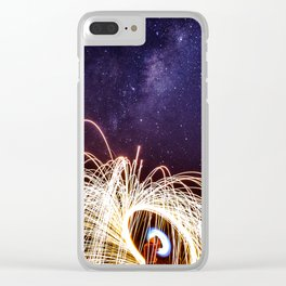 Lightpainting under the sky Clear iPhone Case