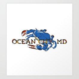 Ocean City Blue Crab Art Print